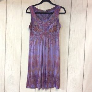Purple Paisley Printed Sleeveless Dress